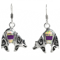 Sterling Silver Opal Silver Bear Earrings 30698