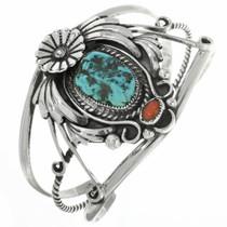 Vintage Turquoise Coral Silver Bracelet 30703