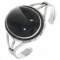 Vintage Black Onyx Silver Navajo Bracelet 30719