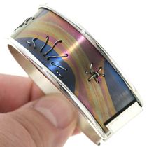 Navajo Anodized Silver Cuff Bracelet