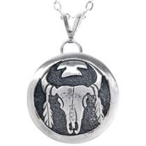 Buffalo Skull Feathers Silver Pendant 30753