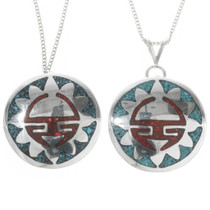 Silver Sunface Turquoise Pendant 30754