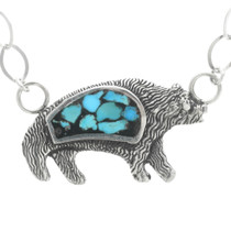 Turquoise Silver Bear Pendant 30781