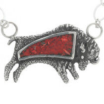 Red Coral Inlay Buffalo Pendant 30788