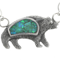 Opal Inlaid Stylized Bear Pendant 30791