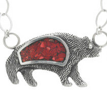 Red Coral Bear Pendant Necklace 30794