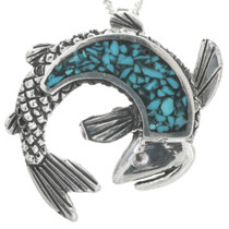 Turquoise Silver Fish Pendant 30909