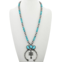 Turquoise Silver Squash Blossom Necklace 30931