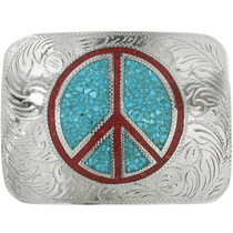 Medium Peace Sign Belt Buckle 30934