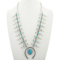 Navajo Turquoise Squash Blossom Necklace 30936