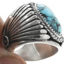 Southwestern Turquoise Silver Ring 30937