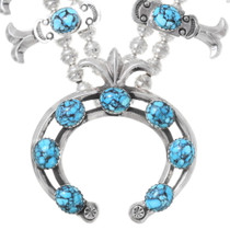 Spiderweb Turquoise Squash Blossom Necklace 30938