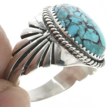 Spiderweb Turquoise Navajo Mens Ring 30939