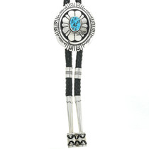 Natural Turquoise Hammered Silver Bolo Tie 30943
