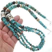 Turquoise Silver Gold Necklace 30995