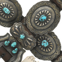 Vintage Natural Turquoise Concho Belt 30996