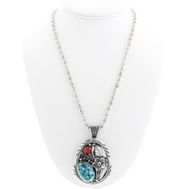 Traditional Turquoise Coral Pendant  31006
