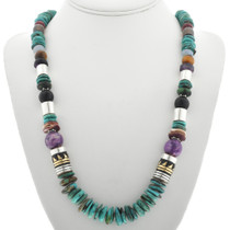 Navajo Turquoise Silver Bead Necklace 31010