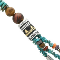 Silver and Gold Navajo Overlay Beads 31012