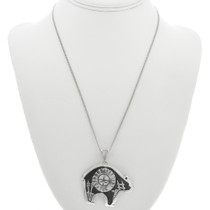 Silver Overlay Bear Pendant with Chain 31020