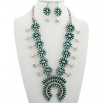 Vintage Turquoise Squash Blossom Necklace 31039
