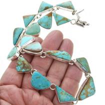 Southwestern Turquoise Silver Necklace Set 31048