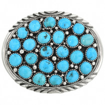 Old Pawn Sleeping Beauty Turquoise Belt Buckle 31114