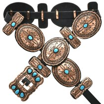 Navajo Turquoise Copper Concho Belt 24053