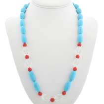 Turquoise Crystal Coral Bead Necklace 31132