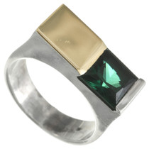 Vintage Tourmaline Gold Silver Ring 31140