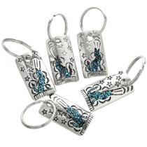Sterling Silver Turquoise Coral Key Ring 25422