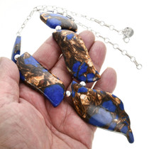 Free-form Slab Bronze Lapis Necklace 31174