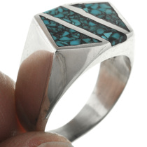 Southwestern Chip Inlay Navajo Ring 31210