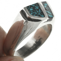 Inlaid Silver Turquoise Ring 31214