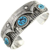 Turquoise Silver Navajo Cuff Bracelet 31219
