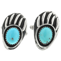 Turquoise Silver Bear Paw Cuff Links 31225