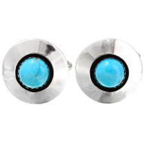 Turquoise Sterling Silver Round Cuff Links 31226