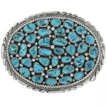Old Pawn Sleeping Beauty Turquoise Belt Buckle 31263