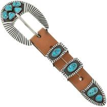 Vintage Turquoise Silver Ranger Belt Buckle Set