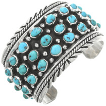 Turquoise Old Pawn Wide Silver Cuff 31271