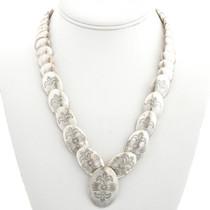 Vintage Navajo Hammered Silver Bead Necklace  31290
