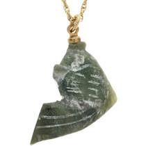 Vintage Carved Fetish Pendant Jade Fish Gold