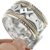 Native American Sterling Gold Cuff Bracelet 31301