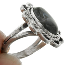 Sterling Silver Black Agate Onyx Ring 31307