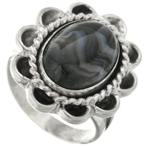 Black Agate Sterling Silver Ring 31307
