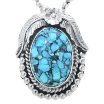 Spiderweb Turquoise Silver Pendant 31308