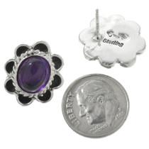Native American Amethyst Silver Earrings 31328