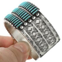 Native American Needlepoint Turquoise Bracelet 31343