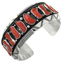 Red Coral Sterling Silver Navajo Bracelet 31353