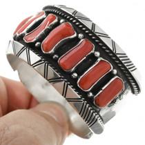 Vintage Native American Mediterranean Coral Bracelet 31353